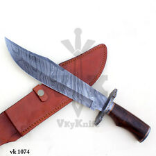 Handmade Damascus Steel Hunting Bowie Knife Rose Wood Handle  vk1074