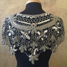 Sequin Beaded Lace Hip Wrap Collar Shoulder Shrug Shawl Applique Silver/Black