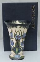 Moorcroft blue flowers boxed Vase - 2 star Collectors Club piece - 458 - 15.5cm