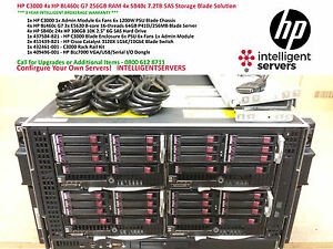 HP C3000 4x HP BL460c G7 256GB RAM 4x SB40c 7.2TB SAS Storage Blade Solution
