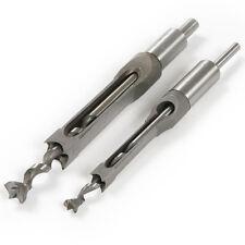 2pc 10mm 16mm Square Hole Saw Mortising Chisel w/ Twist Drill Bit Wood Tool