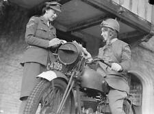 WWII B&W Photo British Motorcycle Messenger  WW2 World War Two  / 1087