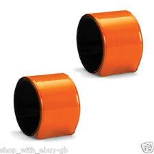 2 Brassards Bras Rabats Haute Visibilité Orange Fluo Réfléchissant Sécurité
