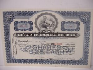 Vintage 1933 10 Shares Colt Firearms Stock Certificate Hartford connecticut blue