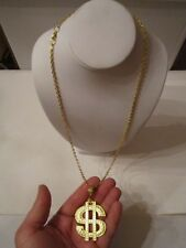 "Money Dollar Sign Pendant & Necklace - Gold Tone Metal - 28"" Long - Box S"