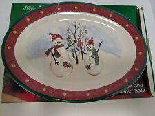 "Royal Seasons Stoneware SNOWMAN Stockings Christmas Oval 14"" Serving Platter EUC"