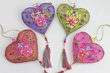 Gisela Graham NATALE INDIANO filo trasparente cuore con nappe DECORAZIONE x 4