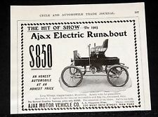 1903 OLD MAGAZINE PRINT AD, AJAX ELECTRIC RUNABOUT $850, THE HIT OF THE SHOW!