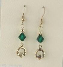 Sterling silver Irish Claddagh Earrings w/ Emerald Green Swarovski Crystal beads
