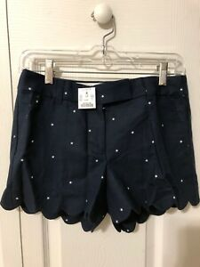 "NWT J Crew 4"" Scalloped Hem Shorts Size 0 Navy Stars Blue White Linen Cotton"