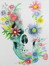 SKULL AND FLOWERS - FINE ART PRINT POSTER 13x19 - EDC128