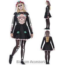 CK798 Teen Sugar Skull Day Of Dead Mexican Senorita Halloween Skeleton Costume