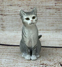 Schleich Sitting Grey & White Cat Domestic 13771 Realistic Figure Tabby 2014