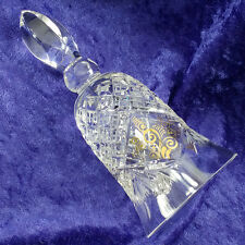 Diamond Cut and Fans Crystal Bell With Crystal Clapper and Gold Scroll Design