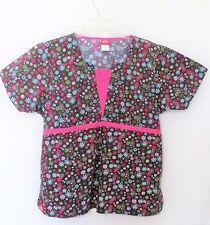 Dickies Size Large Brown Floral Scrub Top Pink Trim Elastic Back 100% Cotton