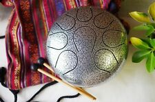 Steel Tongue Drum Handpan drum Chakra drum WuYou 9in Great Christmas Gift Silver