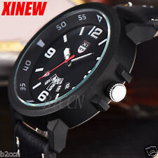 Men's Quartz Date Watch Leather Stainless Steal Army Analog Sport Wrist Watches
