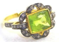 1.60cts ROSE CUT DIAMOND PERIDOT ANTIQUE VICTORIAN LOOK 925 SILVER COCKTAIL RING