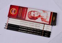 12 pcs/set KOH-I-NOOR Black & White Charcoal Pencils soft Medium hard Sketching