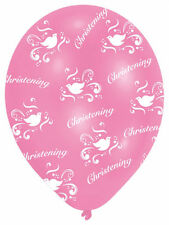 6 x Pink Christening Balloons GIRLS doves Pink Christening Party Decorations