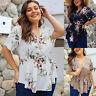 Plus Size Women Blouse Zip Peplum Ruffle Tops V Neck Short Sleeve T Shirt OL Top