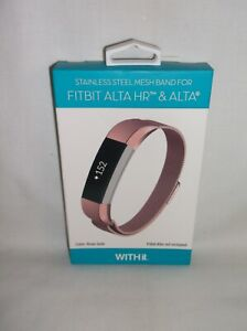 *NIB* WITHit - Stainless Steel Mesh Band for Fitbit Alta and Alta HR - Rose Gold