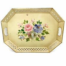 Vtg Cream Metal Distressed Hand Painted Floral Shabby Rustic Chic Tray Platter