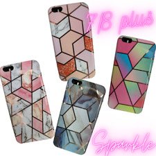 Marble Case iPhone 7 8 Plus  Geometric Shockproof Silicone Glitter Phone Cover