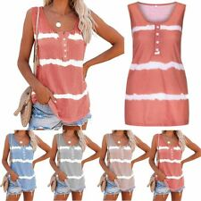 New Women Striped Tie-dye Sleeveless Tank Tops Summer Loose T Shirts Tops Blouse