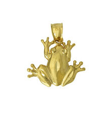 14K Yellow Gold Small Frog Toad Diamond Cut Charm Pendant Open Back