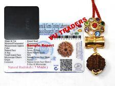 7 Mukhi Rudraksha / Seven Face Rudraksh Nepal Lab Certified Navratan Pendant D2
