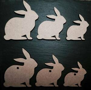 laser cut EASTER bunny rabbits shapes Embellishments mdf Craft 40,50,60,80,100mm