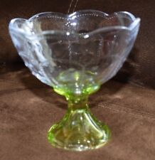 Vintage Beautiful Knobby Crystal Glass Candy Dish Compote With Short Green Stem