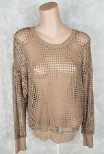 Kut From The Kloth Women Sz L Brown Open Knit Long Sleeve Pullover Sweater Top I