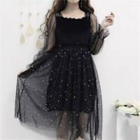 Lady Mesh Sheer Dress Lace Glitter Puff Sleeve Retro Lolita Fairy Shiny Casual