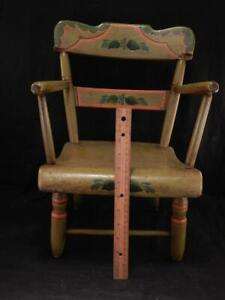 Antique AAFA Folk Art Hand Painted Childs Chair~Bucks Co. PA~Signed WEDER~VGC