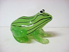 New glass frog figure green black PAPERWEIGHT inside painting?