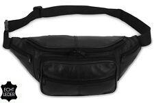 Riñonera negro cuero auténtico cinturón Bolsa Doggy bag de cadera Bolso mod. no. 6