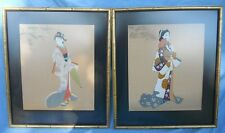 Vintage Pair Large Japanese Silkscreen Geishas Prints Signed Framed Matted