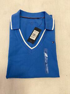 TOMMY HILFIGER Women's Blue 'Daria' V- Neck Polo Shirt *NWT* ~ Size L RRP $89.95