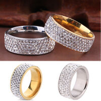 Women's Men Sz8-10 CZ Stainless Steel Ring Wedding Band Rings Gold Silver CHI