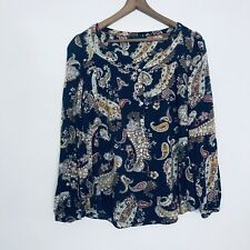 MARKS & SPENCER M&S Sz 14 Navy Floral Paisley  Print Button Up Top Boho