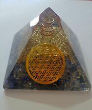 Lapis,Clear Crystal & Black Tourmaline Pyramid Wid Flower Of Life Metal Disc 7cm