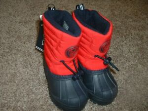 Nautica Boys Red Navy Winter Snow Boots Fleece Lined Infant Baby Shoe Size 5 NWT