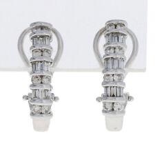 1.00ctw Round Brilliant & Baguette Cut Diamond Earrings 14k Gold Pierced J-Hoops