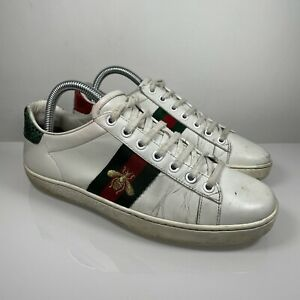 Gucci Ace Embroided Bee Sneaker Size UK 4 EU 37 Womens White Leather Trainers