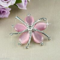 BR1 Wedding Bridal Prom Dusky Pink Catseye Crystal Flower Corsage Pin Brooch