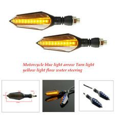 Black 2xMotorcycle Turn Signal Flowing Water Light Waterproof LED Daytime lights