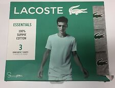 Lacoste Box 3-Pack Short Sleeve Gray White Supima Crew Neck T-Shirt Men's Sz S