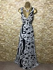 Julien Macdonald MAXI/FULL LENGTH evening/occasion Black/white DRESS SIZE 16 🌸